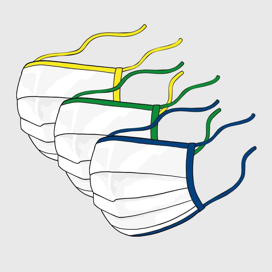 Community-Maske - mit Schrägband zum Verknoten - farbige Einfassung